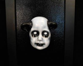 OOAK Original 5x7 Devil Doll Face Painting with Frame