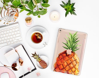 """Pineapple with Rose Gold Smart Cover Hard Case for the iPad Air 2 , New iPad 9.7 2017 , New iPad Pro 10.5"""" 2017 - Platinum Edition"""