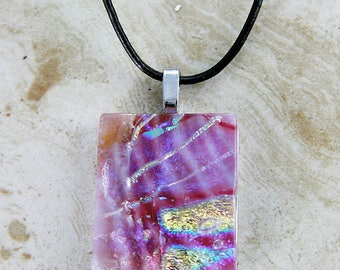 Pretty in Pink. Unique fused glass pendant. One of a kind.