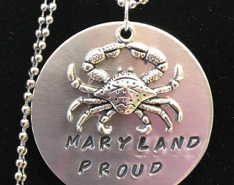 Proud to be a Marylander Crab Charm & Disc- Maryland Proud