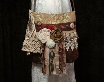 Handmade Gold Gypsy Fringe Purse Boho Hippie Festival Bag Carpet Bag Upholstery Bag Pursuation Free Shipping to US