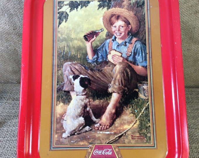 Vintage Coca Cola ad tray from 1991, Barefoot Boy ad from Norman Rockwell, Coke decor, Coca Cola decor, man cave decor, Coke Collector