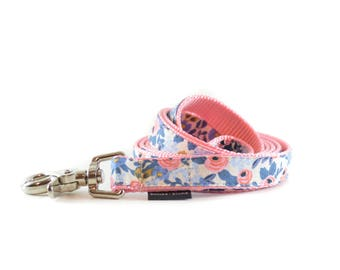 Periwinkle Floral Dog Leash - Pink and Blue Rose Flower Lead