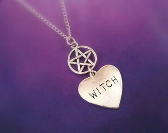 Witch and Pentacle Necklace, Witchy Jewellery, Witch Gift, Pagan Jewelry, Halloween Necklace, Witch Costume, Wicca necklace, pentagram gift
