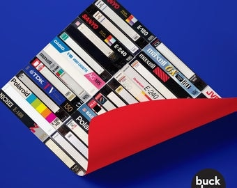 80s Retro VHS Video Cassette Wrapping Paper (2 Sheets)