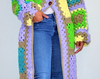 Granny Square Coat/ Crochet Granny Cardigan/ Crochet Gypsy Coat/ Long Coat/ Long Granny Square Coat
