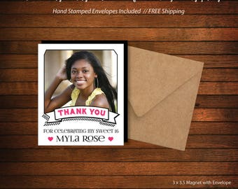 Sweet 16 Birthday Photo Magnet  |  Personalized Party Favor > Envelopes Included > FREE SHIPPING