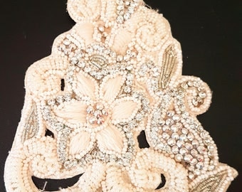 Rhinestones And White And Silver Beads Applique Wedding Bridal Accessories - 200317L503B