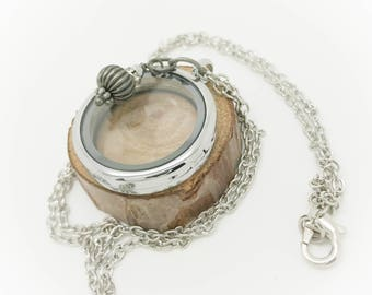 30mm Floating Locket - silver rolo chain with brushed silver bead