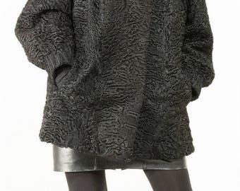 Classic Black Broadtail Persian Lamb Fur Coat Sz Large swing style