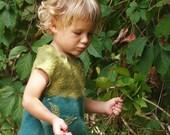 "Children felt dress for girl ""Forest Princess"" green cotton wool elf boho winter spring ecostyle nature"