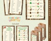 Scavenger Hunt Printable Lists | INSTANT DOWNLOAD & Edit in Adobe Reader | Nature Party Lists | Paper Craft Party