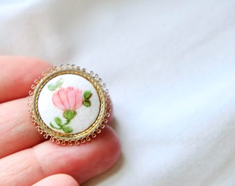 Vintage AJ 12/20 Gold Filled Floral Pin - Brooch