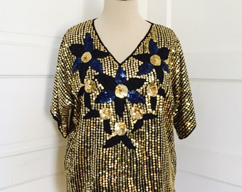 1980's Womens Vintage Retro Glam Disco Rock Gold Blue Flower Design Sequin Beaded Top Blouse Medium Large