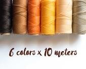 Linhasita macrame thread, linhasita macrame cord, polyester macrame thread, 6 color brown set, brown 60 meters macrame thread macrame cord