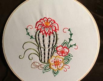 "12"" Hooped Cactus Wall Art"