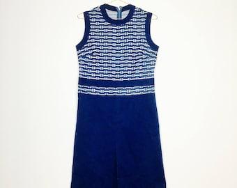 Blue floral dress, sleeveless, vintage, 70er, 70s,