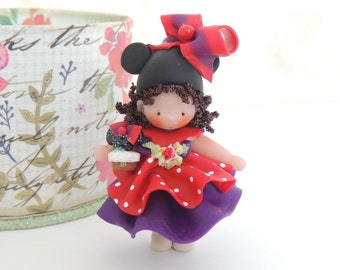 Little Girl Miniature Figurine Collectible Doll With Mouse Ears and Wee Mouse ears CupCake