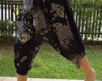 KD0067 Samurai Pants Black and White pants Handmade pants, Thick Smock Waist Low Crotch, elastic waistband  - Fits all !