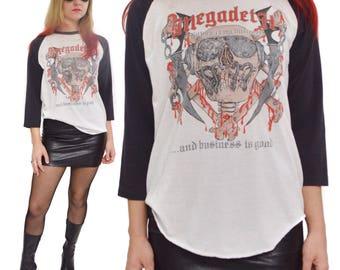 Vintage 80s Megadeth Killing is My Business Vic Rattlehead Rare Thrash Metal Raglan T Shirt Sz L