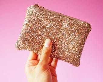 Pale Gold Glitter Coin Purse, Sparkly Gold Coin Pouch, Gold Glitter Purse, Gold Zipped Purse, Sparkly Gold Card Holder, Glitter Pouch,