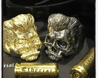 Sterling Silver Skull Mafia Ring Skull Beard Ring Mafia Ring Beard Ring Bearded Skull Ring Biker Skull Ring Beard Ring Biker Badass Ring