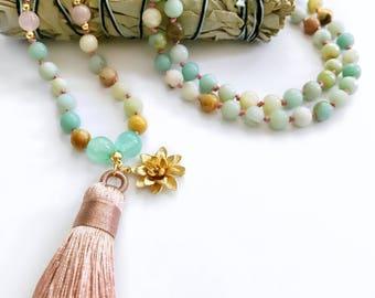 Mala Necklace, Mala Beads, Amazonite Mala, Knotted Mala, Amazonite Necklace, Beaded Necklace, Mala Bead Necklace, Tassel Necklace, Mala,MKAL