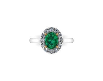 DIANA: Royalty Inspired Oval Heirloom Natural Emerald Engagement Ring with Plain Band and Large Diamond Halo!