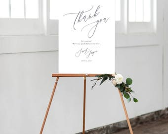 Wedding Welcome Sign backed print - Calligraphic style - Thank you for coming
