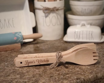 Set of 6 Wooden Utensils Custom Engraved