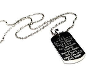 You are braver than you believe, stronger than you think + Son Dog Tag + Necklace for Son