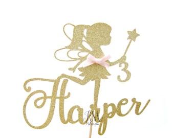 Custom Glitter Fairy Cake Topper - Custom Cake Topper, Fairy Glitter Cake Topper, Fairy Topper, Birthday, Fairy Party, Fairy Birthday