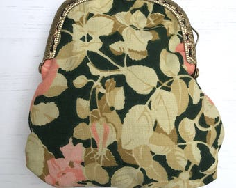 Leafy print vintage cotton purse with antique gold metal clasp hand sewn purse wallet handmade by The Emperor's Old Clothes