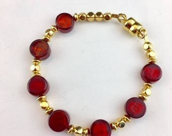 Venetian Murano Bracelet - Venetian Glass Jewelry - Red Bracelet - Gold Bracelet - Artisan Jewelry - Gift for her - Cherry Drops