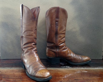 LUCCHESE Vintage Western Cowboy Boots..Men's Size 9 D (women's 10.5).. Vibram Rubber Lugged Soles..Brown Aged Leather