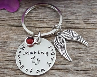 Mommy of an angel OR Daddy of an angel - Remembrance Memorial Custom Hand Stamped Keychain Wing- Stillborn- Miscarriage - Lost loved one