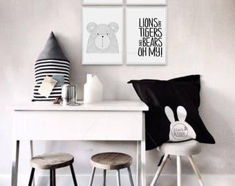 Lions and Tigers and Bears, Oh My! || lions and tigers, wizard of oz, Nursery art, nursery decor, animal prints, kids art, safari prints