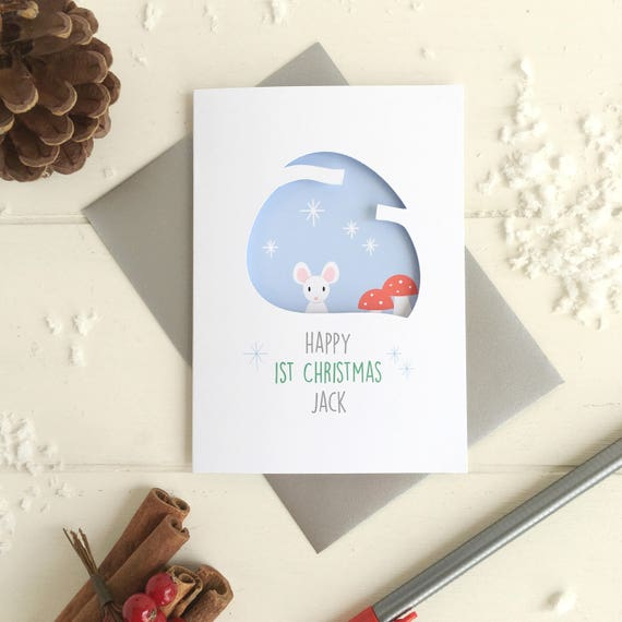 Baby's first chrismas mouse card - 1st Christmas - Personalised card