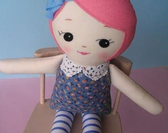 Pink-Haired Ragdoll - Handmade cloth doll plush toy, Gift for Girls