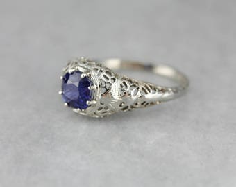 Art Deco Sapphire Solitaire,  White Gold Filigree Ring, Antique Engagement Ring, Art Deco Jewelry TY1J58-N