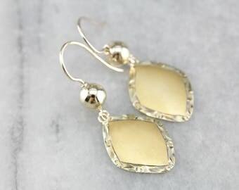 Brushed Gold Drop Earrings, Etched Drop Earrings, Yellow Gold Earrings 861AWE0K-P