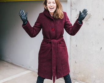 Women's Marsala Wool Coat   Wool Coat Women   Hooded Coat   Winter Wool Coat   Cosy Coat   Coat With Pockets   Coat With Buttons