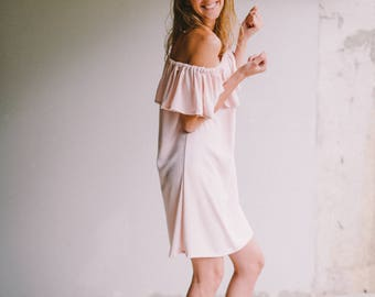 Off shoulder dress, Ruffle dress, Light peach dress, Viscose dress, Short dress, Sleeveless dress, Summer dress, Beach dress, Vacation dress