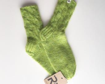 Green winter socks Soft, long-lasting hand knitted socks Warm socks Soft winter socks Boot socks Slipper socks Cable knit socks Mohair socks