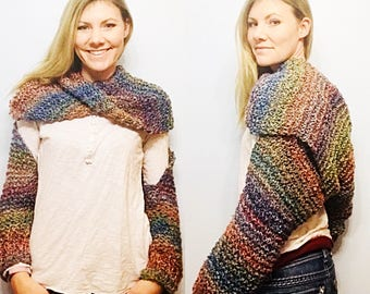 Rainbow Wrapped In Cozy Wrap with Sleeves, Scarf with Sleeves, Oversize Scarf Wrap, Wrap Cardigan, Convertible Sweater, Multiwear Wrap Scarf