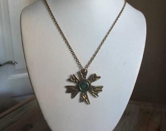 RESERVED for Lucky Patina Brutalist Modernist Unsigned Bernard Chaudron Enamel Pendant Necklace