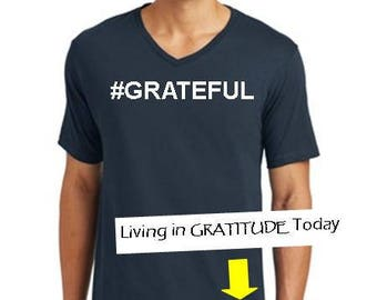 Men's, Navy,  S-3XL, V neck, #GRATEFUL tee, Recovery tee, 12 step tee, inspirational tee, yoga, positive vibes, urban wear, street wear