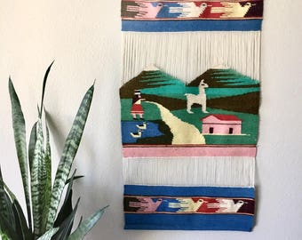 Bohemian Vintage Woven Wall Hanging - Alpaca and Birds / Long Peruvian Blue and Green Tapestry