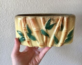 Vintage Yellow Ceramic Bamboo Planter / Asian Bamboo Stalk Planter with Crazing