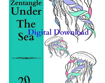 Adult Coloring Book, Zentangle Under The Sea, Art Therapy Vol 4, 20 Printable PDF, Calming Anti-Stress, Coloring Therapy,  Digital Download